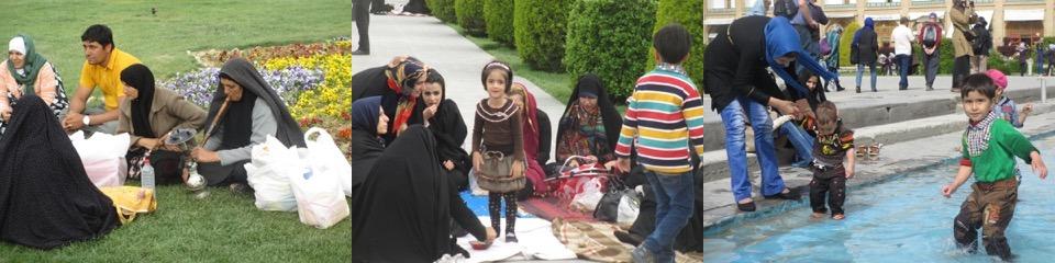 Picnicking at Isfahan's Naqsh-e Jahan Square.